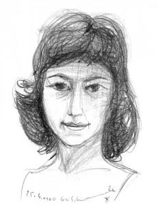 Günter Schwannecke, Portrait Luiza Aschenbrenner, Kohlestift auf Bütten, 1960)