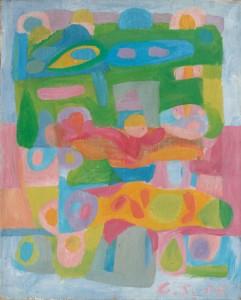 Günter Schwannecke, Abstrakte Komposition, Öl/Jute, 1958