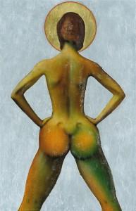 Günter Schwannecke, Ikone ohne Titel, Figur (Pin-up-Girl), Öl/Silber- und Goldfolie auf Holz, 969