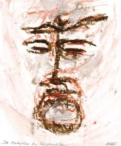 Gerd Winner, Das Martyrium des Schwannecke, Ölstift auf Karton, 2013