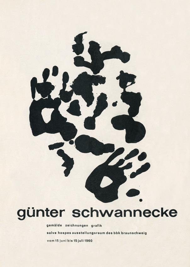 """""""Der Titel zu seinem Katalog-Flyer zur Braunschweiger Ausstellung von 1960. Mir ist nicht bekannt, wie er die Arbeit mit dem Abdruck seiner Hände, die einen zerbrochenen abstrakten Flecken-Kern begleiten, umgreifen(?), bezeichnet hat. Für mich habe ich sie immer 'Künstlers Hände' genannt. Sie dürfte für diese Publikation gemacht sein, also von 1960 sein."""" (Text: Walter Vitt)"""
