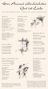 """Günter Schwannecke: Illustration zu """"Der Armut allerhöchstes Gut ist Liebe"""" (Thomas Rother) im Semesterspiegel, Münster. Copyright 2014 Nachlass Schwannecke im Archiv Vitt. Fotos Christian Vitt. Überlassen von Thomas Rother."""